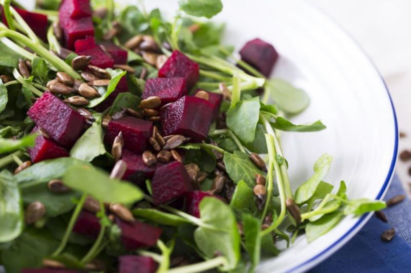 Watercress salad in the dish